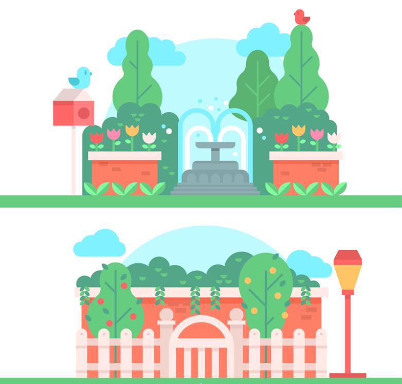 2 Set Of Beautiful Scenery In The Park Vector