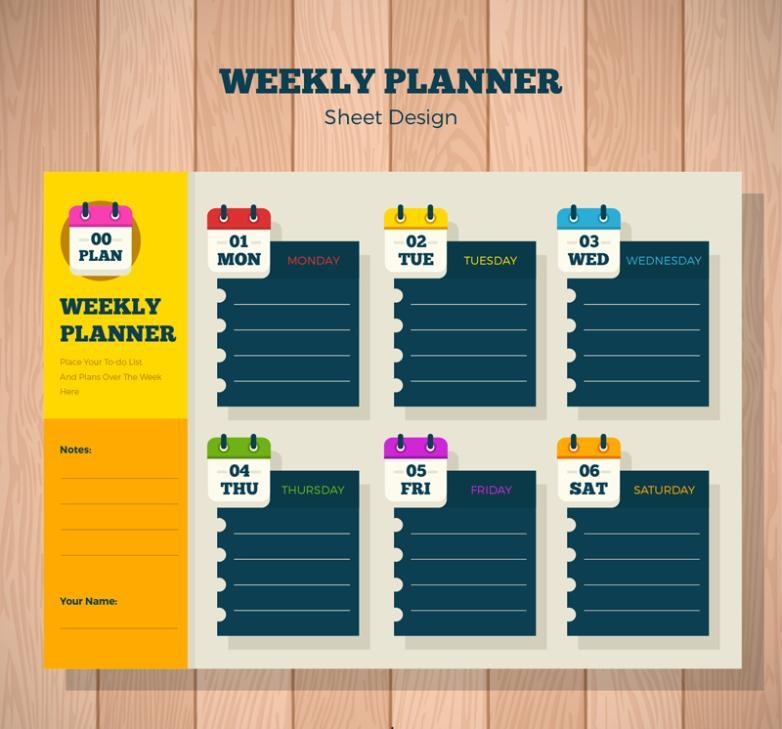 Color A Week Schedule Vector