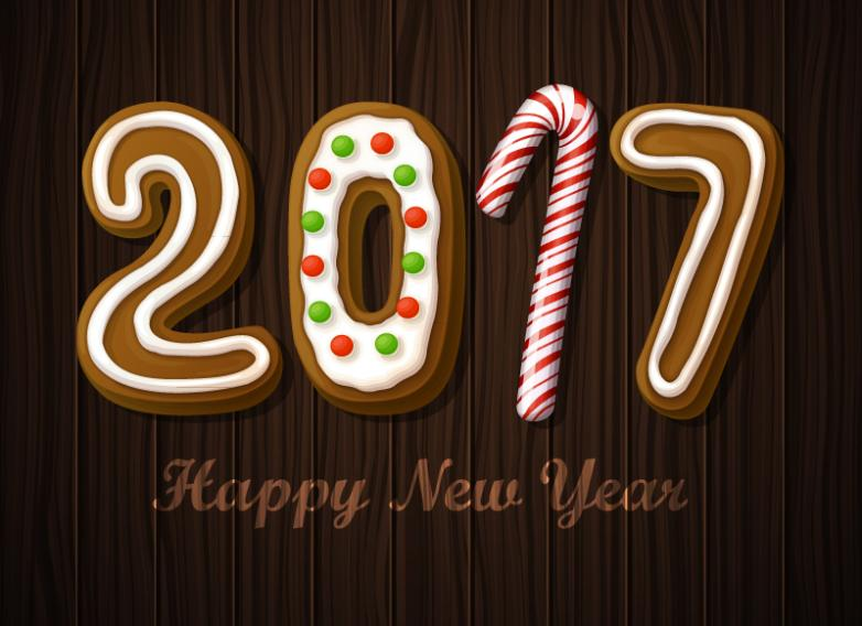 In 2017 New Year Cookies Artistic Words Vector