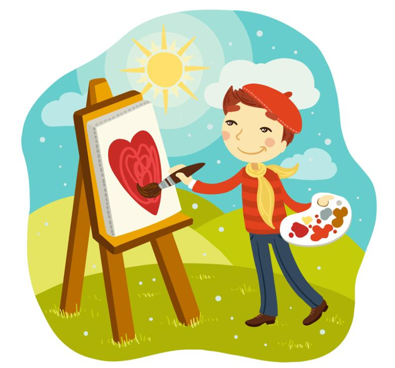 Sunny Outside Painting Of A Man Vector