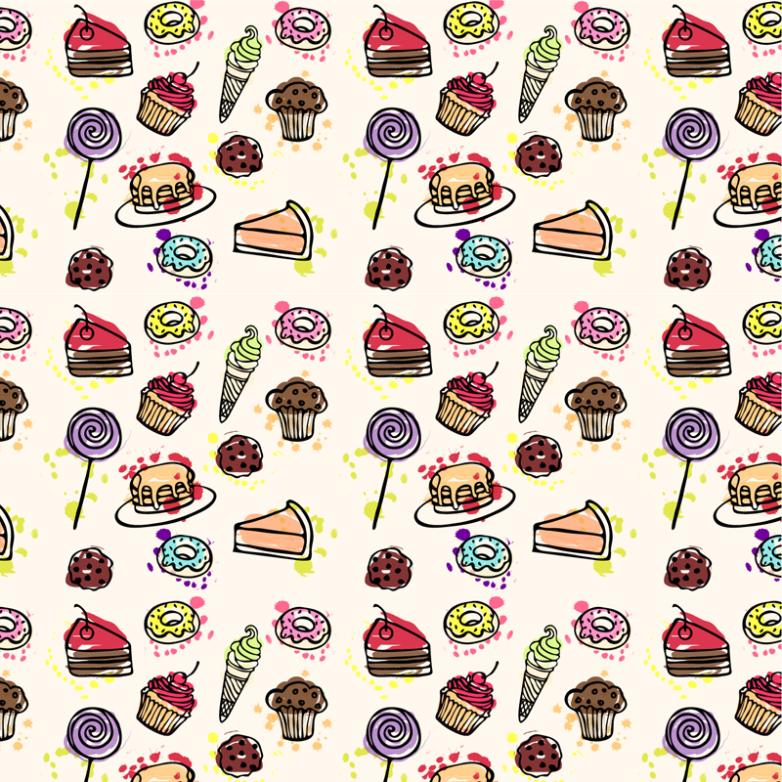 Dessert Seamless Background Coloured Drawing Or Pattern Vector
