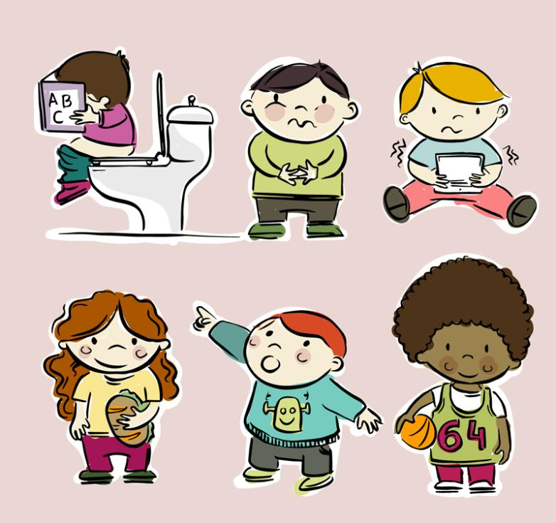 Six Children Coloured Drawing Or Pattern Design Vector