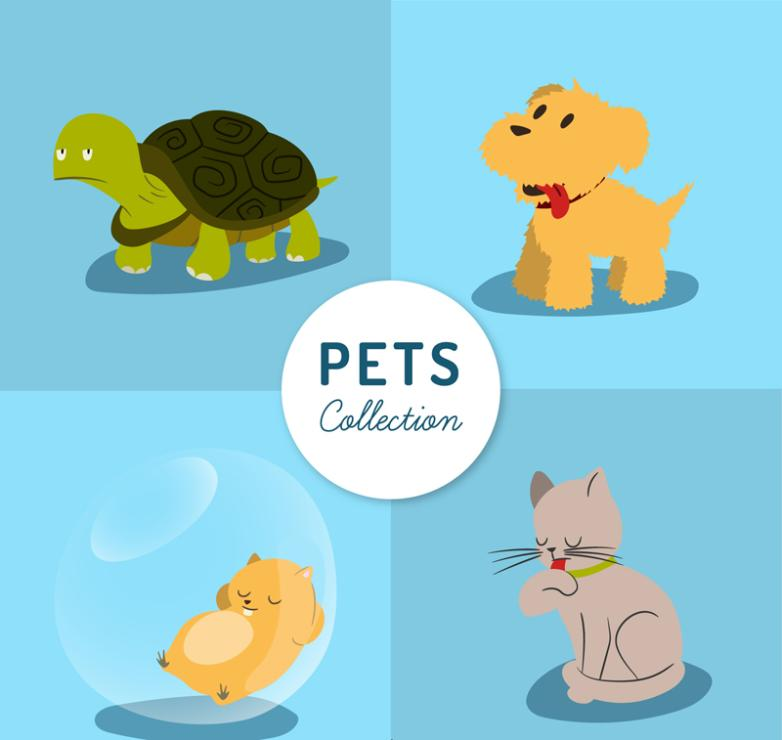 Four Kinds Of Lovely Pets Design Vector