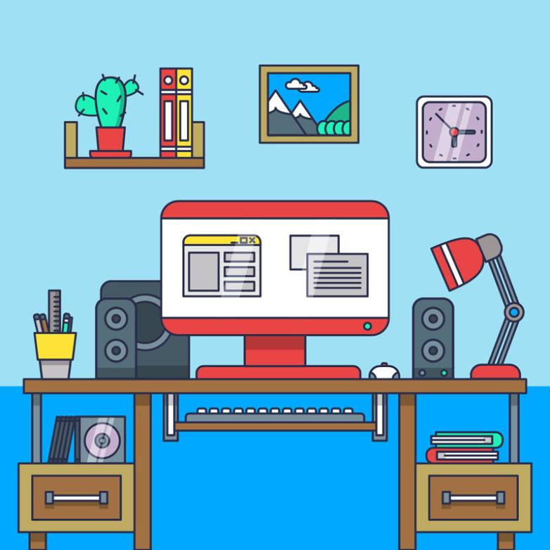Creative Study Computer Desk Vector