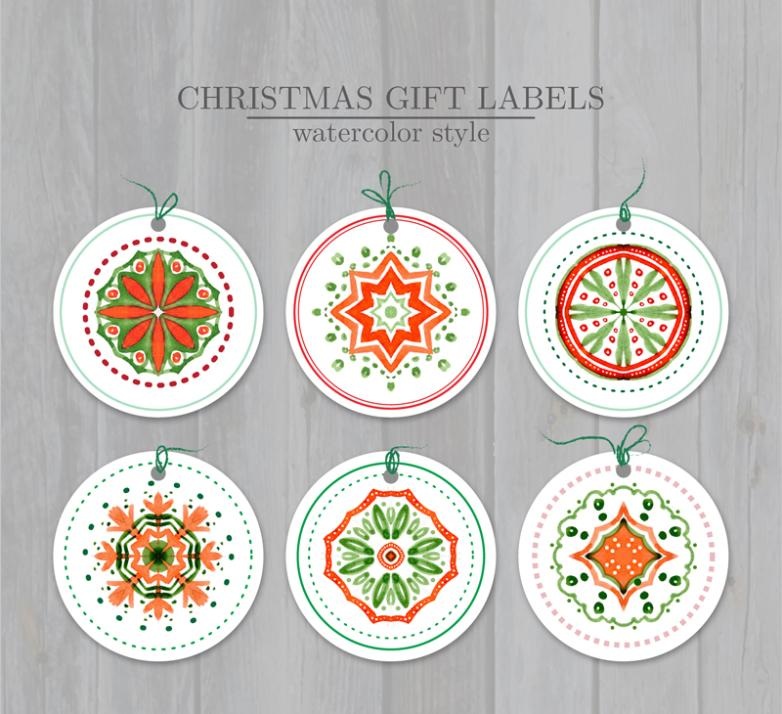 Six Water Paint Christmas Gift Tags Vector