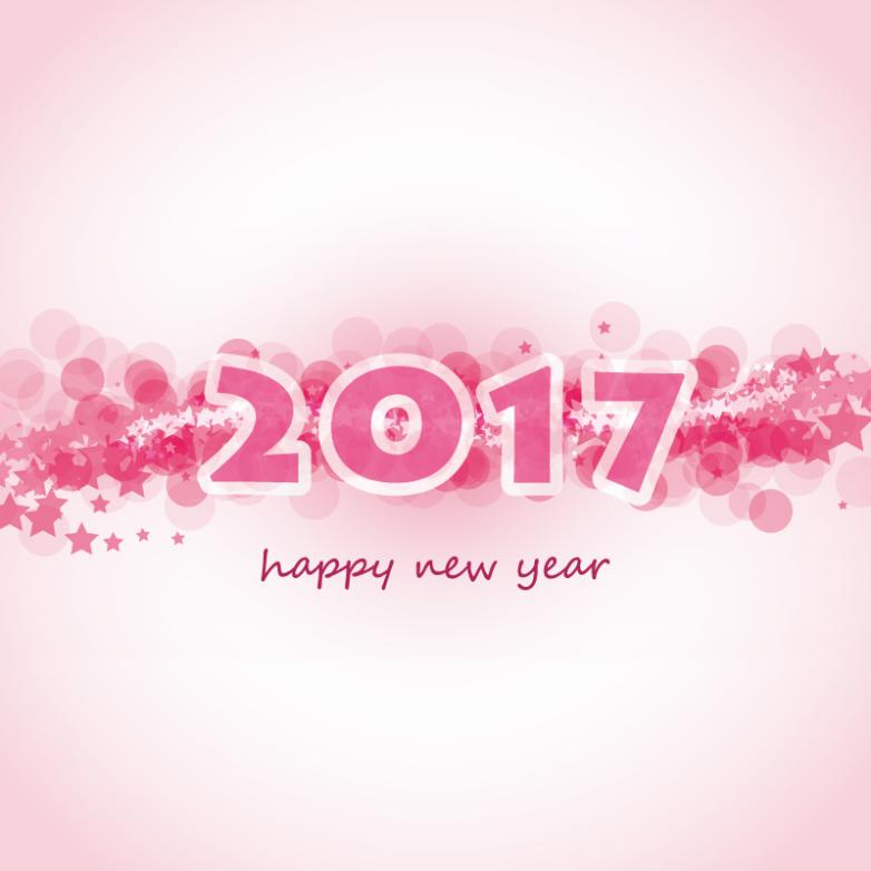 Pink Stars Glow 2017 Cards Vector