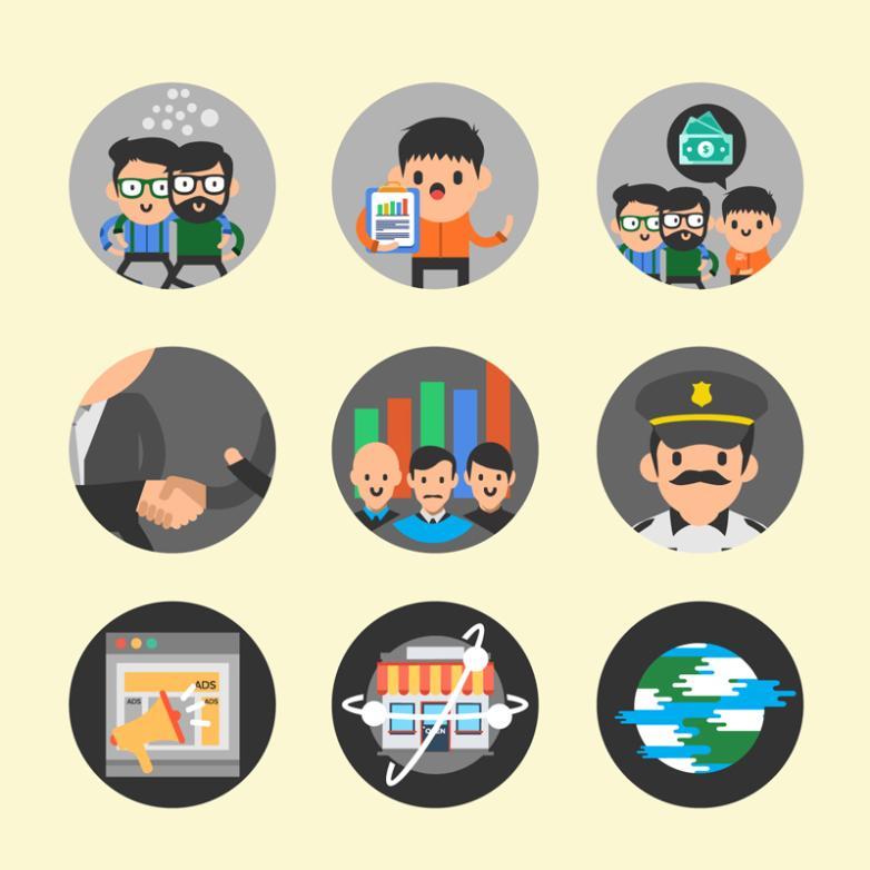 Nine New Round Icon E-commerce Elements Vector