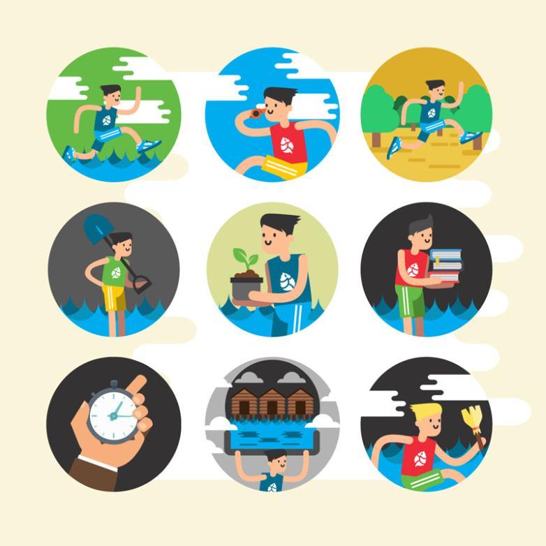 Nine New Circular Movement Character Icons Vector