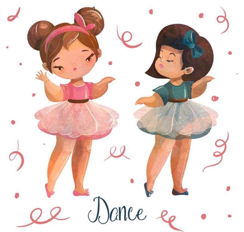 Two Dance Ballet Girl Vector