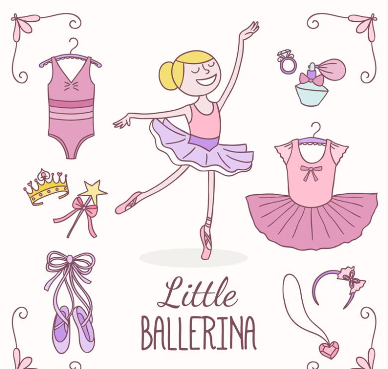 Ballet Girls And Nine New Accessories Vector