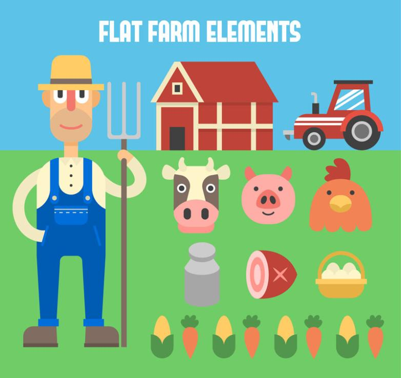 The Farmer And 10 Creative Farm Elements Vector