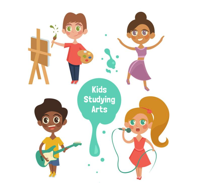 4 Children Of Creative Learning Art Vector