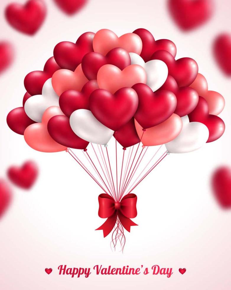Elegant Red Balloon Bouquet Of Love Vector