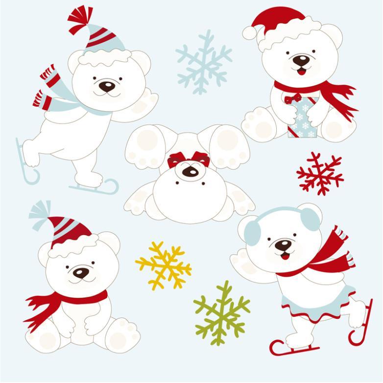 5 Play The Polar Bear And Snowflakes Vector