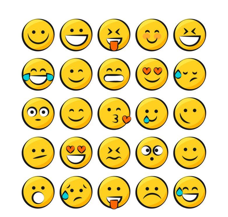 25 Yellow Creative Round Face Vector