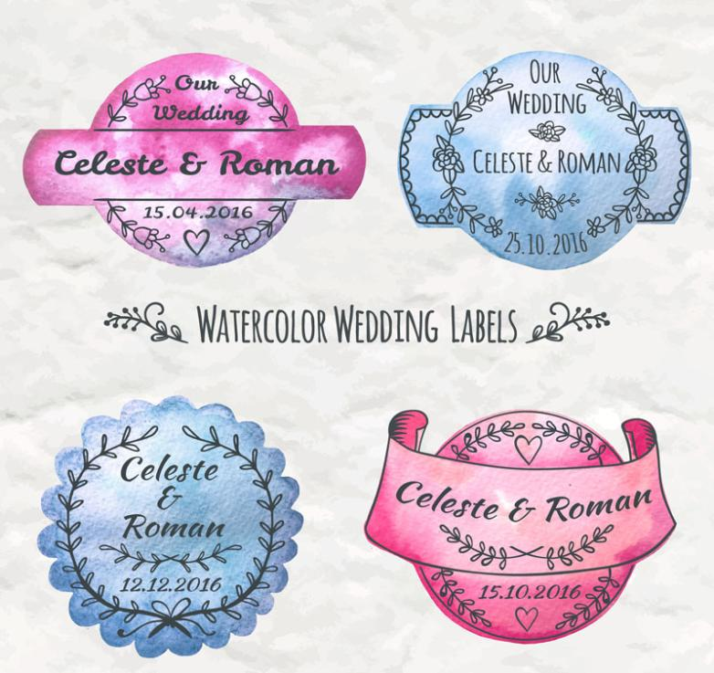4 Water Coloured Drawing Or Pattern Wedding Tags Vector