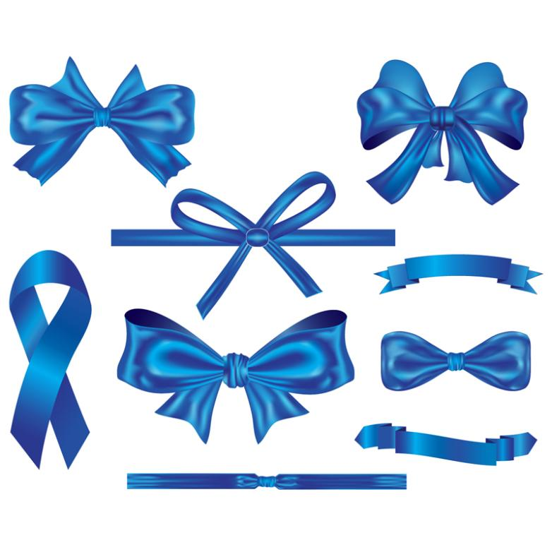 Nine New Blue Bow And Ribbon Vector