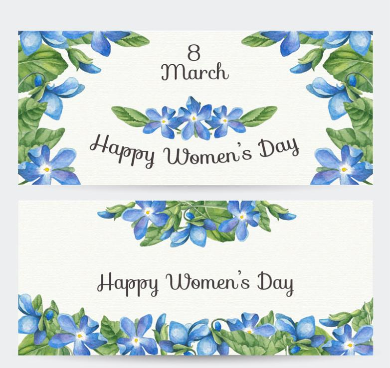 Two Water Painted Purple Flower International Working Women's Day Banner Vector