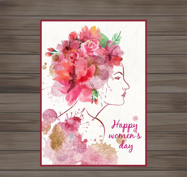 Water Painting Women's Side Face Of The International Working Women's Day Greeting Card Vector