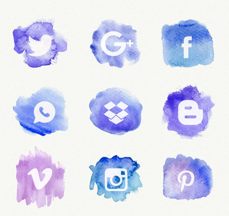 Nine New Blue Water Coloured Drawing Or Pattern Of Social Media Icons Vector