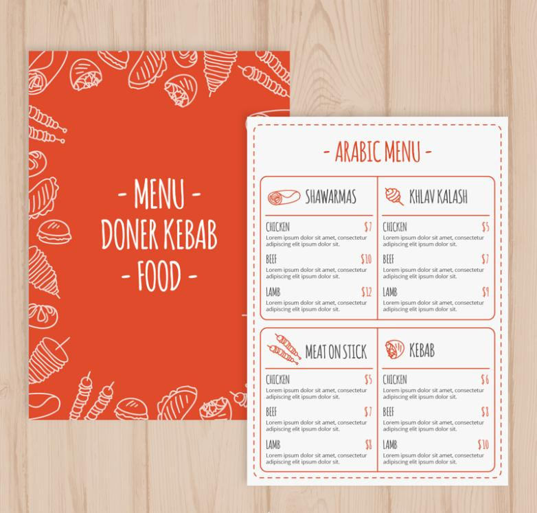 Creative Arab Food Menu Design Vector   Free Vector Graphic