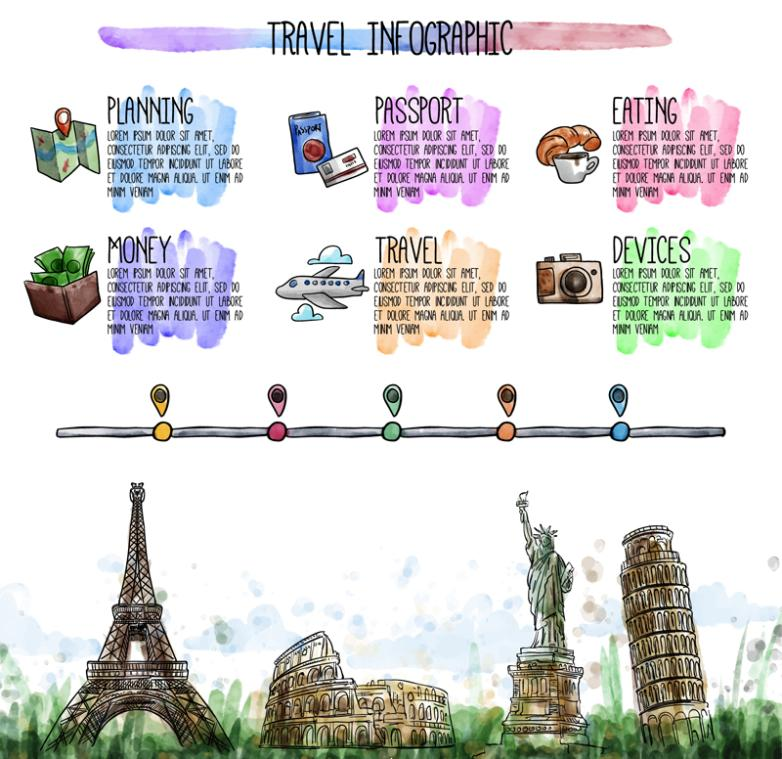 Painting World Travel Information Vector