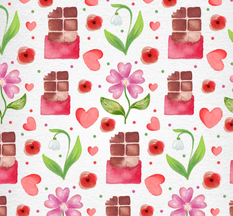 Pink Flowers And Chocolate Seamless Background Vector