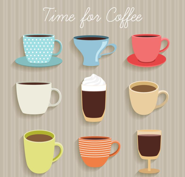 Nine New Delicious Coffee Cup Design Vector