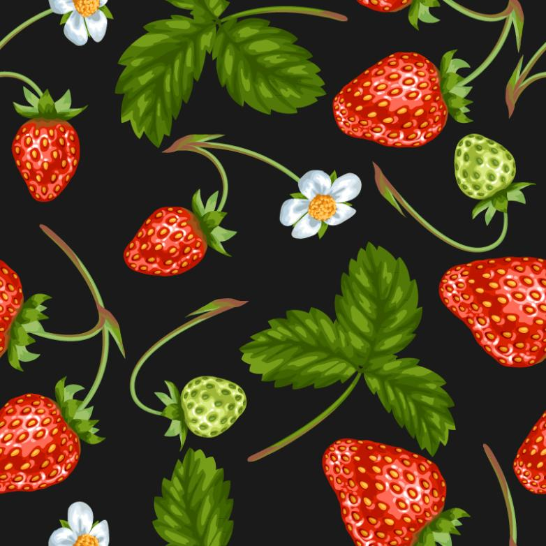 Strawberry Seamless Background With Flower Vector