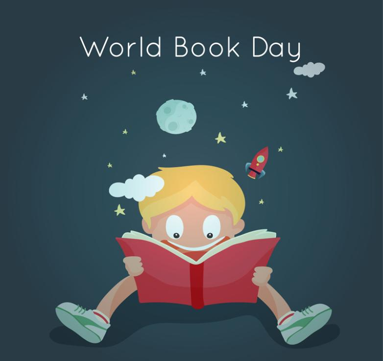 Cartoon World Reading Day Boy Greeting Card Vector