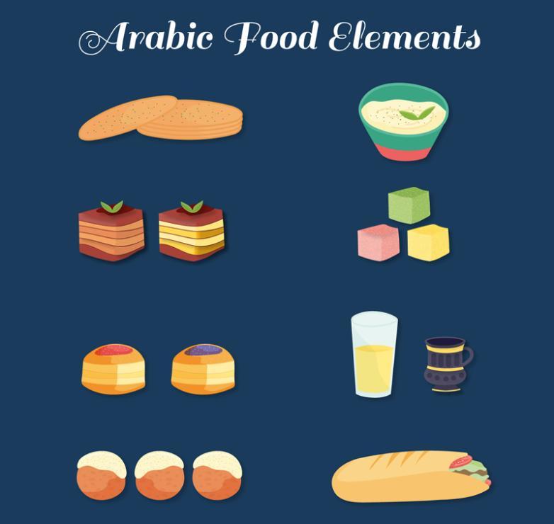 Eight Delicate Arab Food Vector