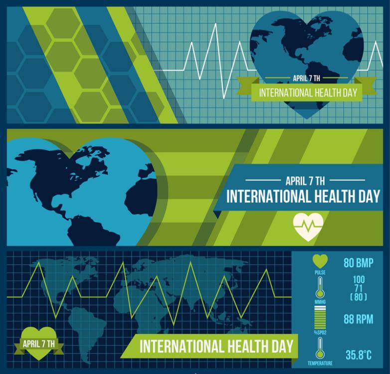 World Health Day Three Creative Banner Vector