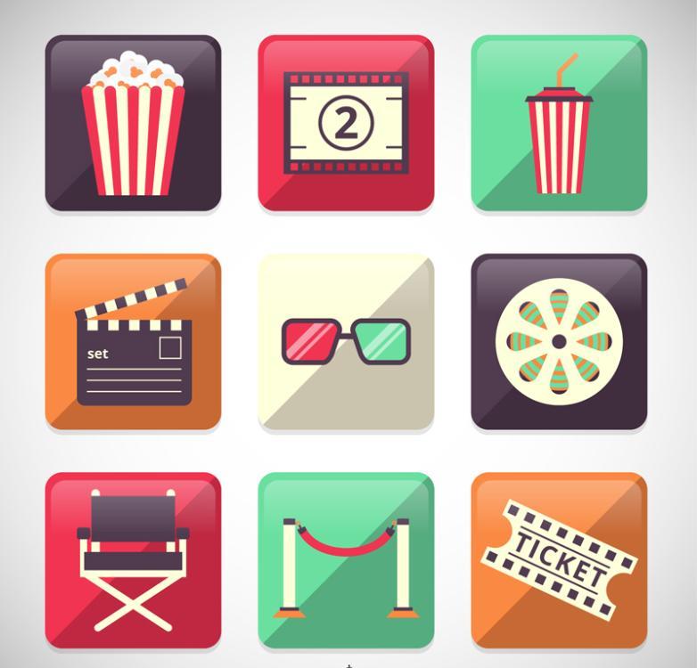 9 Square Film Elements Icon Vector