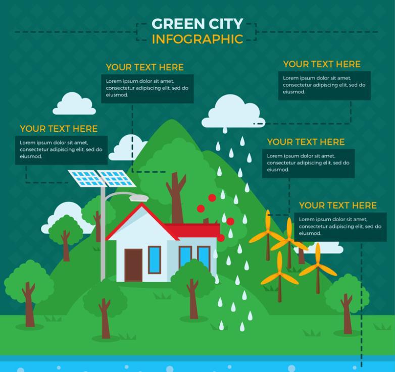 Creative Green City Information Chart Vector