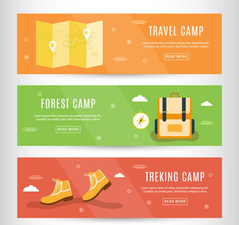 Three Creative Outdoor Camping Banner Vector
