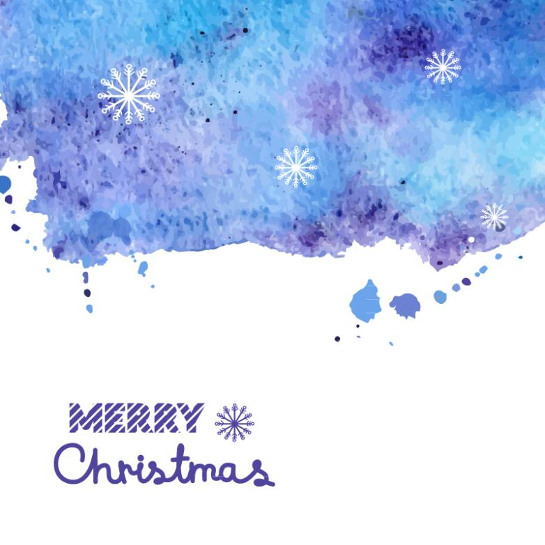 Simple But Elegant Water Paint Christmas Card Vector