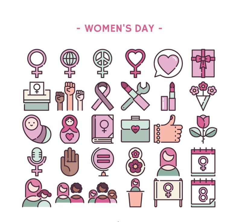 30 Creative Women's Day Icon Vector