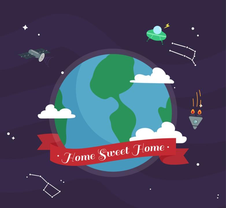 Cartoon Blue Earth Home Vector
