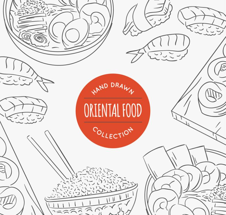 Painting Oriental Food Illustration Vector