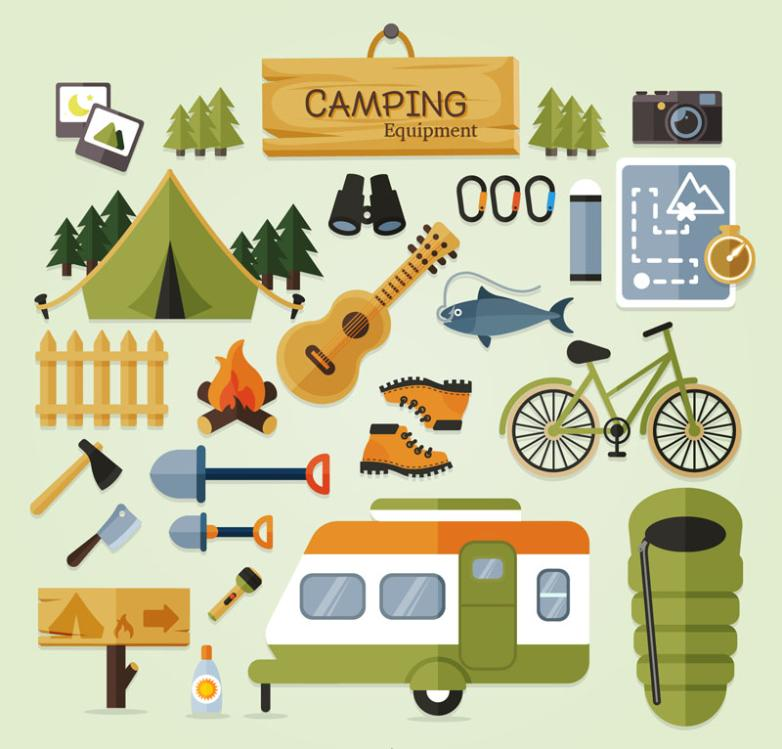 23 Delicate Camping Gear Design Vector