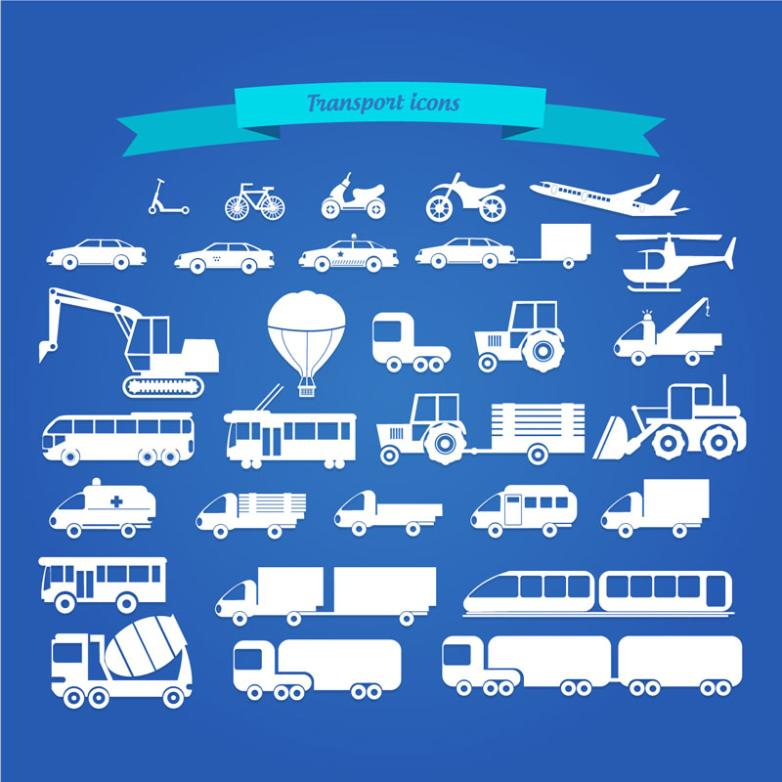 30 White Silhouette Vehicle Icon Vector