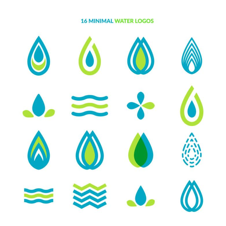 16 Tiny Water Droplets Logo Design Vector
