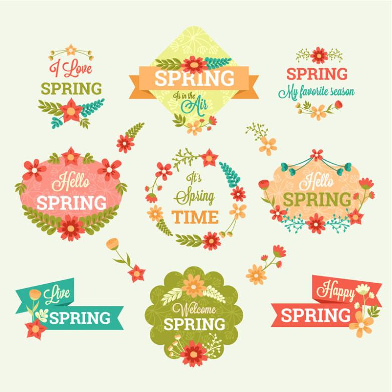 Nine Cartoon Label Spring Flowers Vector