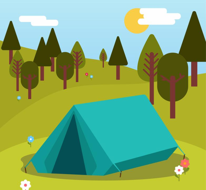 Blue Tent Camping Outside Scenery Vector