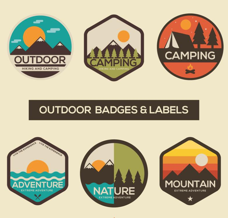 Six Outdoor Sports Label Badges Vector