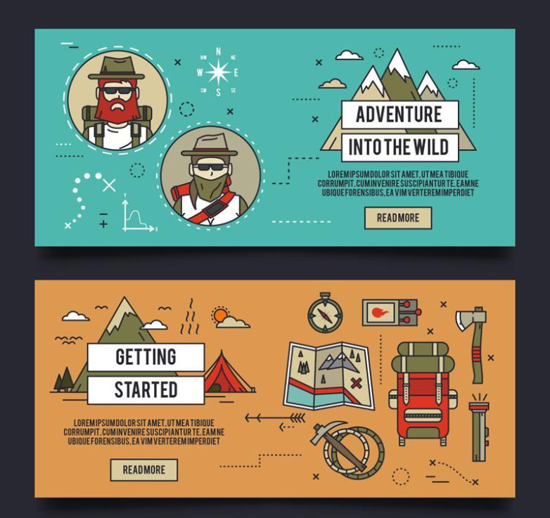 Two Wild Adventure Banner Vector