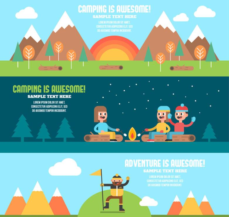 Three Creative Camping Banner Vector