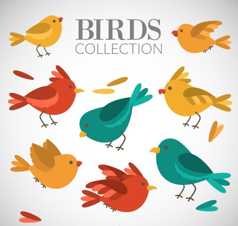 7 Colour Cartoon Birds Design Vector Free Vector Graphic Download