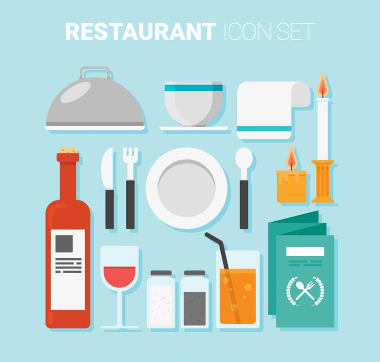 15 Restaurant Supplies Icon Vector