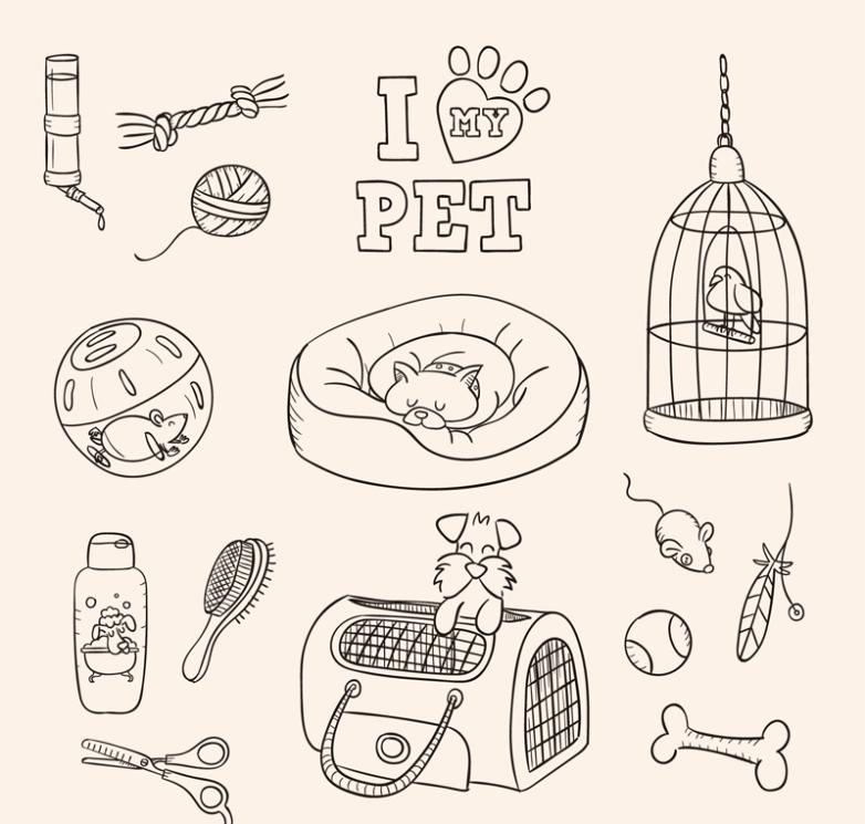 14 Hand-painted Pet And Pet Supplies Vector